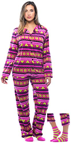6370-10240-2X #FollowMe Printed Microfleece Button Front PJ Pant Set with Socks,Pink - Heart Snowflake Fairisle,2X Plus ()