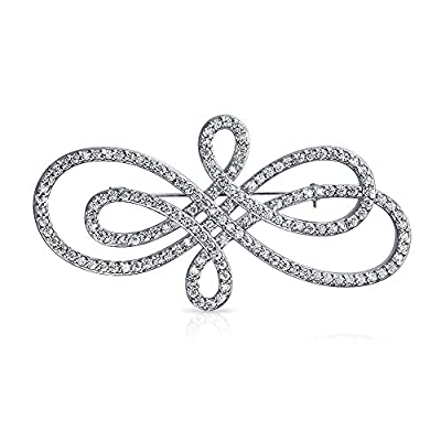 discount Bling Jewelry Classic Rhodium Plated CZ Swirl Pin Bridal Brooch hot sale