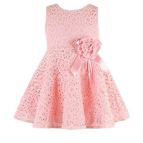 20a92652d HappyMA Kids Baby Girls Cute Dress Full Pierced Lace Floral Clothes  Sleeveless O-Neck Dress