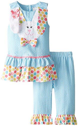 Rare Editions Girls' Little Bunny Applique Seersucker Capri Set, Turquoise, 5