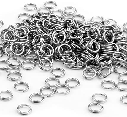 FACILLA 250X anillas de llavero de acero inoxidable conector juego de enganches para 5 mm HOT