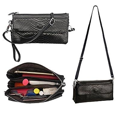 Soft Genuine Leather Crossbody Purse Shouler bag, Cellphone Pouch Purse, Mini Cross Body Womens Purse Wristlet Wallet Clutch with Long Shoulder Strap and Wrist Strap