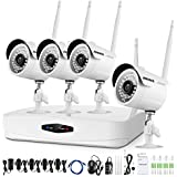 ANNKE 4CH HD 1080P Wireless CCTV Camera System, NVR Video Recorder with 1080P Bullet IP Camera, Super Night Vision, Motion Detection, No Hard Drive