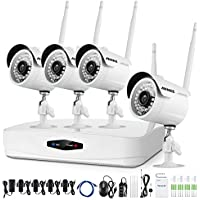 ANNKE New 4-Channel Wireless Video Security System and (4) 720P Weatherproof Indoor/Outdoor IP Cameras with IR Night Vision LEDs and Motion Detection