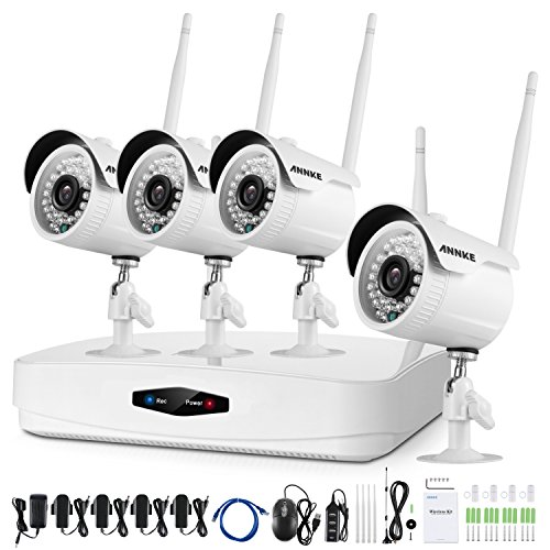 ANNKE 4CH HD 1080P Wireless CCTV Camera System, NVR Video Recorder with 1080P Bullet IP Camera, Super Night Vision, Motion Detection, No Hard Drive For Sale