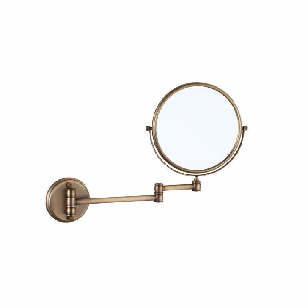 WAWZJ Mirror Antique Bathroom Folding Cosmetic Mirror Wall Hanging Toilet Bathroom Double Face Magnifying Glasses Rotating Telescopic Mirror,Archaize Color by WAWZJ-Mirror