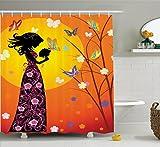 Ambesonne Teen Girls Decor Shower Curtain Set, Flowers Butterflies and...
