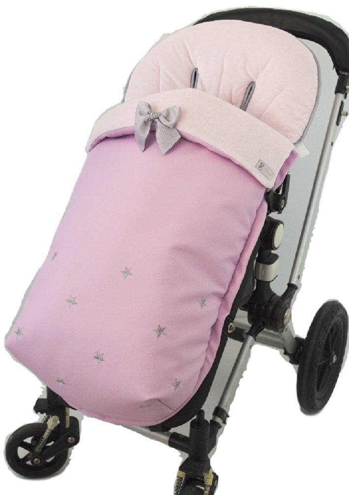 Saco funda POLAR de silla de paseo en pelo corto y ecopiel. Varios colores disponibles (ROSA/GRIS): Amazon.es: Bebé