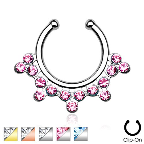Snowflake with Dazzling CZ Gems Non-Piercing Septum Hanger (Snowflake Piercing Gem compare prices)