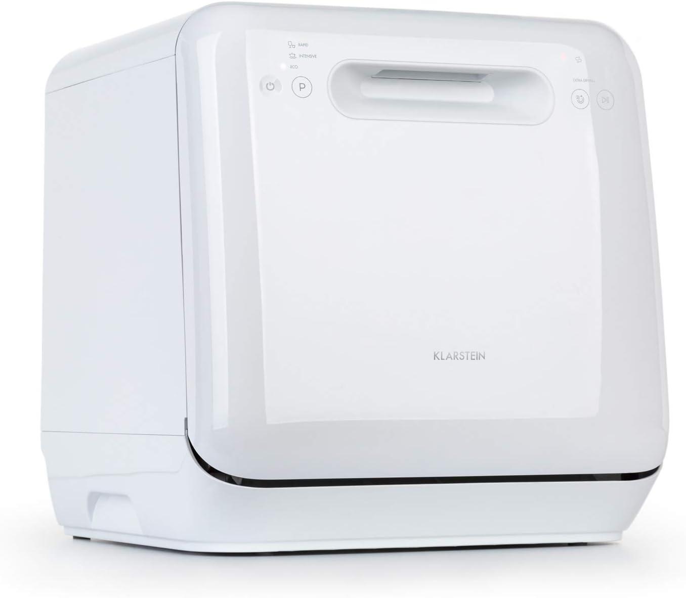 Klarstein Aquatica minilavavajillas - clase A, 125 kWh/año, 2 Maßgedecke, aislado, sin instalación, lavado a 360°, 3 programas, Touch Control, consumo de agua de 5 litros, blanco