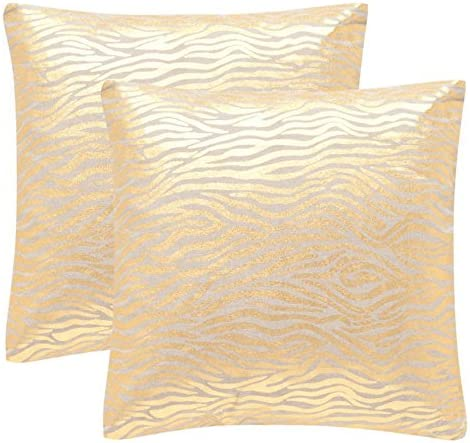 Safavieh Collection Demi Gold Throw Pillows 18 x 18 Set of 2