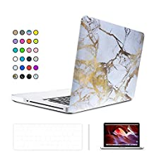 """SUNKY Pro 13-inch 3 in 1 Soft-Touch Hard Rubberized Case Cover, Silicone Keyboard Protective Skin, LCD Screen Protector for Macbook Pro 13.3"""" Models: A1278 With CD Rome Drive (Marble White Yellow)"""