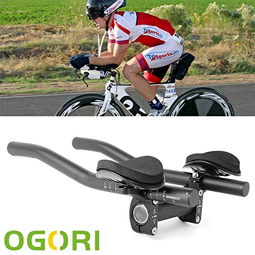 OGORI TT Handlebar Aero Bars Triathlon Cycling Bike Rest Handlebar for Bicycle Aerobars for Road Bike (Clip On Tri Bars For Road Bike)