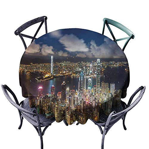 VIVIDX Stain Round Tablecloth,Cityscape,Night View Hong Kong Victoria Harbor Business Financial District Cityscape Print,Table Cover for Home Restaurant,35 INCH,Navy White