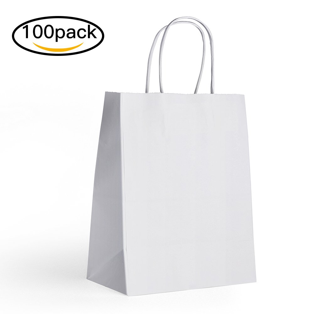 Halulu(TM) Package of 100 pcs 8 x 4.75 x 10.5 White Premium Kraft Paper Handle Shopping Durable Reusable Gift Merchandise Carry Grocery Retail Bags (100, White) by Halulu(TM) B019G341OW