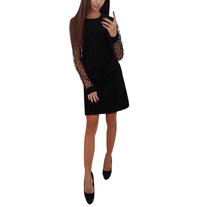 Vestiti Donna Eleganti Ragazza Invernali di Moda in Pizzo Giuntura Chiffon  delle Abiti Cerimonia Rotondo Collo Corti Manica Lunga Linea Estivi  LianMengMVP ... 6ada265e246