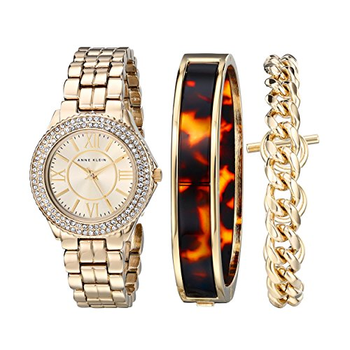 Anne Klein Womens AK1462TOST Swarovski Crystal Accented Gold-Tone Dress Watch and Bracelet Set