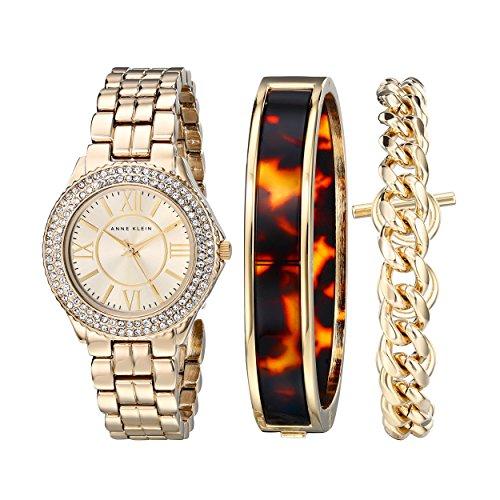 Anne Klein Womens AK1462TOST Swarovski Crystal Accented Gold-Tone Dress Watch and Bracelet Set