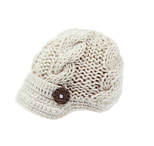 Crocheted Newsboy (Bestknit Baby Boys Crochet Knit Newsboy cap Photography Brim Buttons Hat Small Ivory)