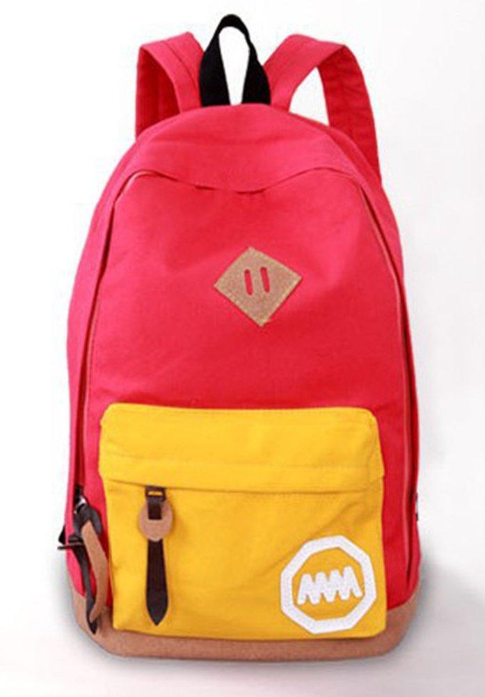 2013ファッショナブルな子供学校バッグキャンバスPackpack For Schoolプレッピースタイル旅行バッグリュックサックバックパックメンズ&レディース  レッド B00LGV0YJO