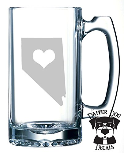 Nevada Pride I Heart My State Art Personalized Custom Hand Etched Mug 25 oz Beer Stein Glass Cup Great -