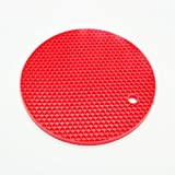 LOVELY 18Cm Round Heat Resistant Silicone Mat Drink Cup Coasters Non-Slip Pot Holder Table Placemat Kitchen Accessories Red
