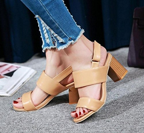 High After Sandals Open Toed GLTER Court Heel Shoes apricot Women Trip The Pumps Ttpx1Z8Awq