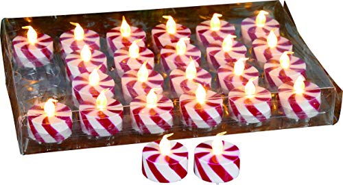 Transpac Imports D1529 Mini Red and White LED Candle Set of 24 Decor Multi