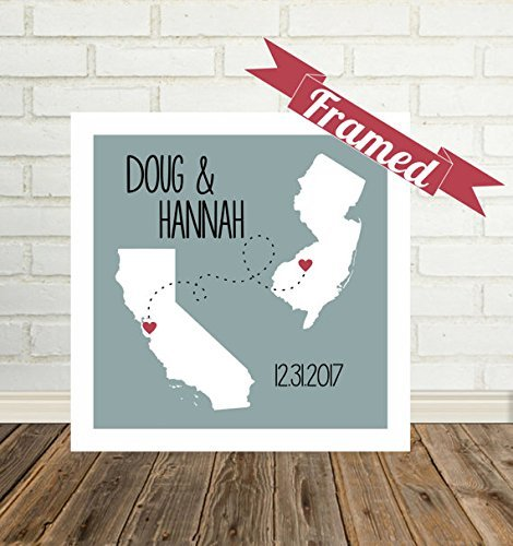 Personalized Long Distance State Map Framed Art, Long Distance Love Gifts for Long Distance Couple All States Available, Countries and Provinces too (Tampa Gift Baskets)