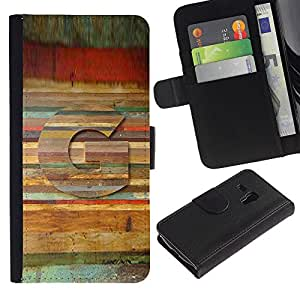 iBinBang / Flip Funda de Cuero Case Cover - Carta del patrón de madera Líneas Símbolo - Samsung Galaxy S3 MINI NOT REGULAR! I8190 I8190N