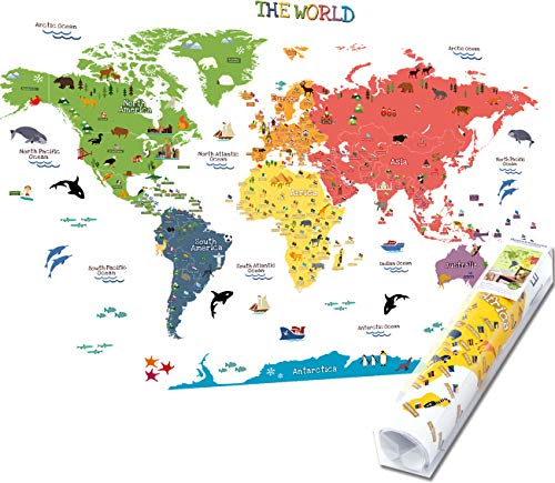 HomeEvolution Kids Educational Removable World Map Peel and Stick Large Wall Decals Stickers for Children Nursery Bedroom Living Room (Map Decal Wall Worlds)