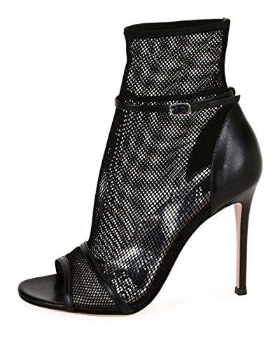 GONGFF Las Mujeres Desnudas Negro Sandalias De Tacón Alto Zapatos De Tenis Botines Grandes Moda Zapatos De Mujer #2