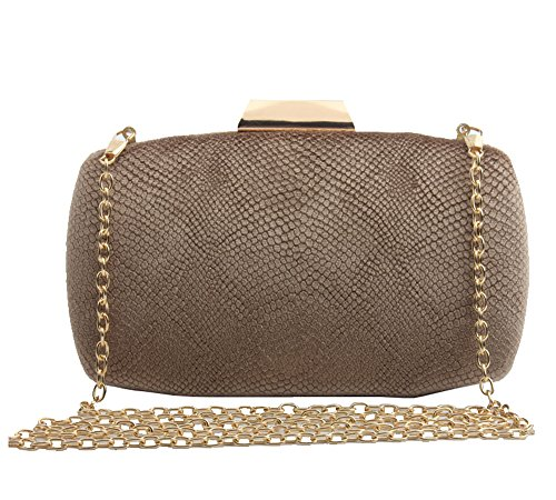 missfiona Womens Solid Color Embossed Velvet Evening Clutch Hardbox Formal Handbag Purse(Nude) ()