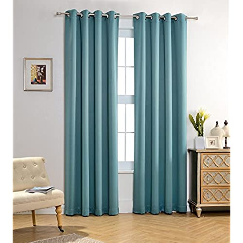 MYSKY HOME Solid Grommet Top Thermal Insulated Window Blackout Curtains For  Girls Bedroom, 52 X 95 Inch, Teal, 1 Panel