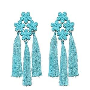 CWEEL Bohemian Tassel Earrings for Women Wedding Bohemian Drop Dangle Long Earings Fashion Jewelry Statement Earring