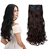 REECHO 24' Curly Wavy 4 Pieces Set Thick Clip in on Hair Extensions Dark Brown