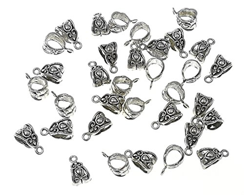 - 100pcs Alloy Beads Bails Connector for DIY Necklace Bracelet Jewelry Charm Pendant Hanging Adapter(Antique Silver) by Alimitopia