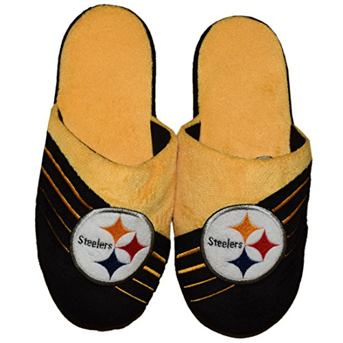 Mens Lounge Slippers with Embroidered Logo - PIT STEELERS by Athletic Uniforms