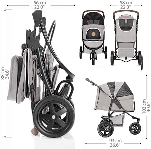 51iwanJiZBL. AC - Hauck TOGfit Pet Roadster - Luxury Pet Stroller For Puppy, Senior Dog Or Cat | Easy Foldable Three Wheels Travel Pet Jogger Max. Loading 70 Lb, Mattress Included - Gray