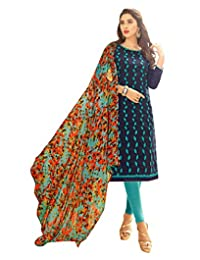 CRAZYBACHAT Indian Designer Dress Red Colored Cotton Jacquard Salwar Suit.