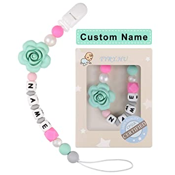 NEW Personalised Name Silicone Ladybug Pacifier Clip Colorful Pacifier Chain