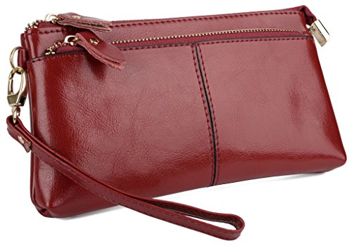 YALUXE Women's Large Capacity Genuine Leather Smartphone Wallet with Shoulder Strap Red