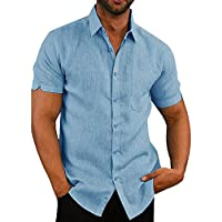 Mens Short Sleeve Shirts Button Down Tops Fishing Tees Spread Collar Plain Summer Blouses