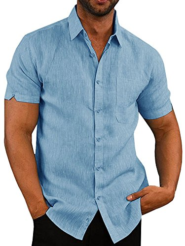 Pengfei Mens Short Sleeve Shirts Button Down Linen Cotton Fishing Tees Spread Collar Plain Summer Shirts Sky Blue
