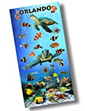 """Custom & Luxurious {30"""" x 60"""" Inch} 1 Single Large & Thin Soft Summer Beach & Bath Towels Made of Quick-Dry Cotton w/ Ocean Tropical Vibes Sea Turtle Orlando Florida Souvenir Style [Multicolor]"""