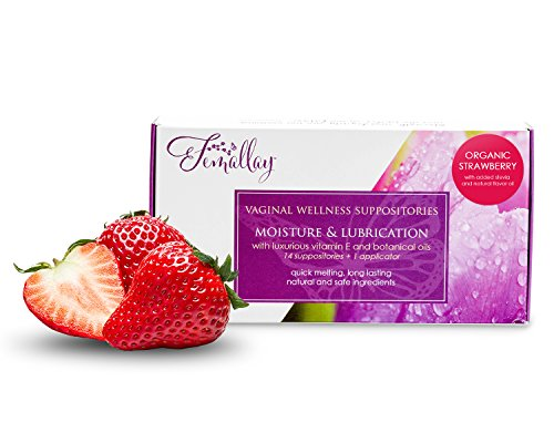 Femallay Strawberry Kiss Vitamin E Vaginal Suppositories for Personal Moisturizing & Wellness with Organic Coconut Oil + Vitamin E + Other Botanical Ingredients, Box of 14 + Vaginal Applicator