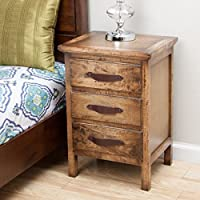 Nakati Rustic Night Stand 3 Full Drawers - Brown