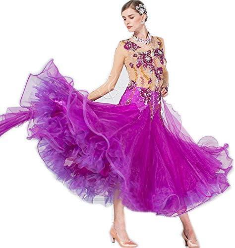 garuda★オーダーメイドドレス社交ダンスセミオーダー レディース競技試合ダンスドレス 高級品 ワルツドレス 魅力紫色 紫 セミオーダー