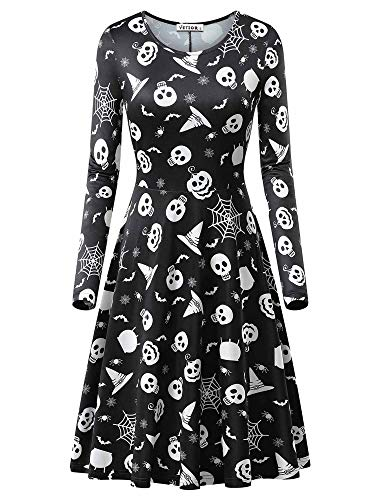 VETIOR Skull Dress, Womens Round Neck Printed Causal Halloween Dress