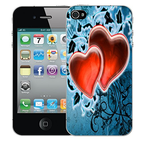 Mobile Case Mate iPhone 4 Silicone Coque couverture case cover Pare-chocs + STYLET - Red Fondness pattern (SILICON)